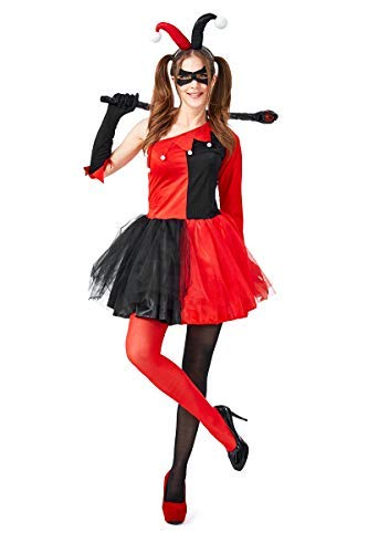 Quinn Tutu Kostüm Harley - Fanessy. Mädchen Harley Quinn Kostüm für Damen Cosplay Halloween Rot Schwarz Tutu Kleid für Fasching Halloween Karneval Party Familien Kostüm Kind Erwachsene Verkleidung Cosplay Outfit Set
