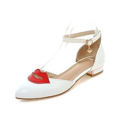 RTRY Donna Comfort Tacchi Brevetto Rientrano In Cuoio Matrimonio Partito Informale &Amp; Sera Chunky Tacco Stiletto Heel Bianco Nero 1A-1 3/4In US7.5 / EU38 / UK5.5 / CN38