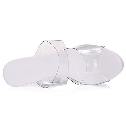 W&LMTrasparente Scarpe di cristallo all'aperto sandali Piattaforma impermeabile Scarpe Fine con sandali Tacchi alti 13cm