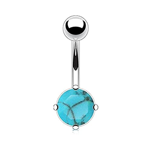 Paula & Fritz Stainless Steel / 316L Surgical Steel Belly Bar with Semi-Precious Stone, Turquoise