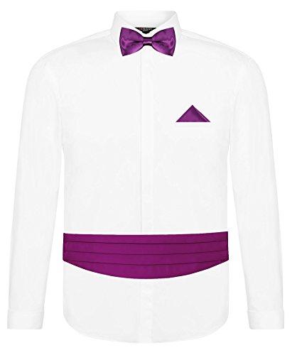CRIXUS Herren Hemd Weiß Slim Fit Manschettenhemd + Kummerbund Set in Violett - 5 teilig - Anzug Schärpe (S - Kragenweite: 37/38)