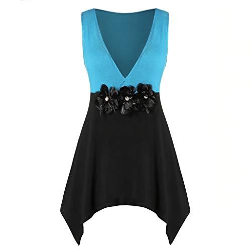 TOWAKM T Shirt Damen, Frauen Mit V-Ausschnitt-Spitze Plus GrößE Blume Handkerchi Top BehäLter Hemd Damen ()