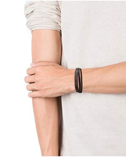 Imagen de viceroy pulsera de hombre beat de piel triple marrón con placa de acero ip gun estampado neumático alternativa