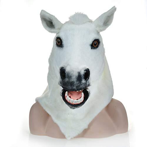 MUJUN White Horse Kopf Maske, Maskerade Halloween Karneval Geburtstag Party Kostüm realistische handgemachte angepasst Tier Cosplay beweglichen Mund mit Fell verziert (Color : White, Size : 25 * 25)