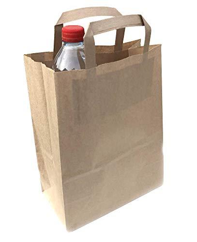 sellaviva 25x Einkaufstüte Papier-Tragetasche braun - 22x28x11 - mit Henkel, 70g/qm