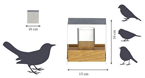 Luxus-Vogelhaus 46861e Eichenholz Vogelfutterhaus mit Ständer - 5