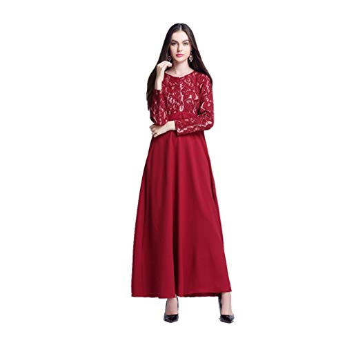 Lucky Mall Frauen Sexy Spitzen Hohle Muslimische Ramadan Robe, Damen Mode Lange Ärmel Islamisch Kleidung Volltonfarbe Muslimische Kleid Mittlerer Osten Traditionell ()