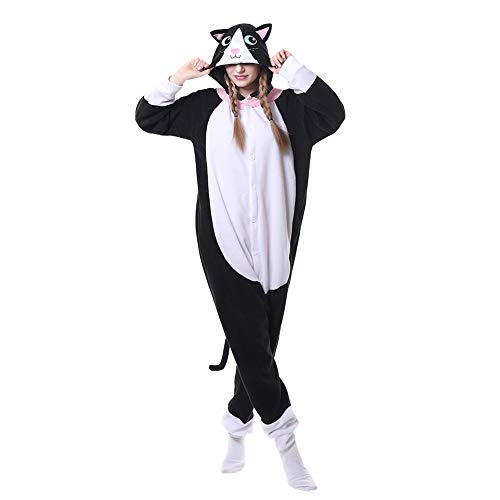 it Tier Cartoon Karneval Halloween Kostüm Fleece Overall Pyjamas Unisex Erwachsen Einteilige Pyjamas, Schwarze Katze, M(158-168cm) ()