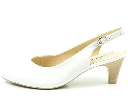 Caprice 29699, Sandales Bride Arrière Femme Blanc (White Nappa 102)