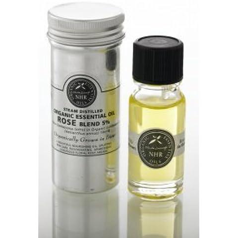 Organic Rose Essential Oil (Otto) Blend 5% (Rosa damascena/helianthus annus) 10ml/Aceite Esencial de Rosa Otto Orgánica-Mezcla de 5% (Rosa damascena/helianthus annus) 10ml (500ml) by NHR Organic Oils