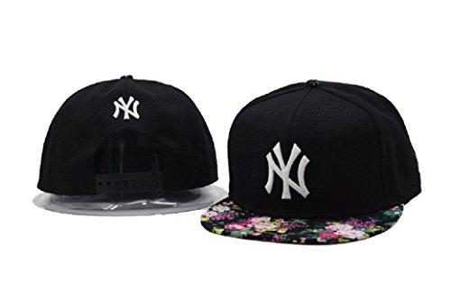 Neue Mode Schwarz mit Blumen Brim (Kostüm Yankees Baseball)