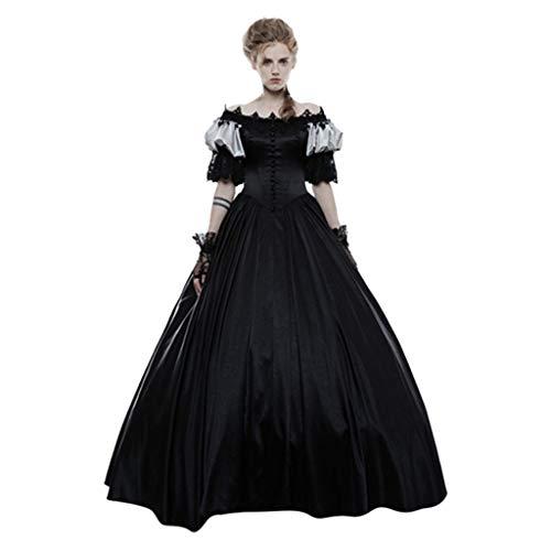 Damen Vintage Kleider Halloween Mittelalter Gothic Gericht Kleid Mode Kuchen Rock Einfarbig Kurzarm Lace Clashing Langes Kleid Schwarz S (Langes Schwarzes Kleid Kostüm Zu Halloween)