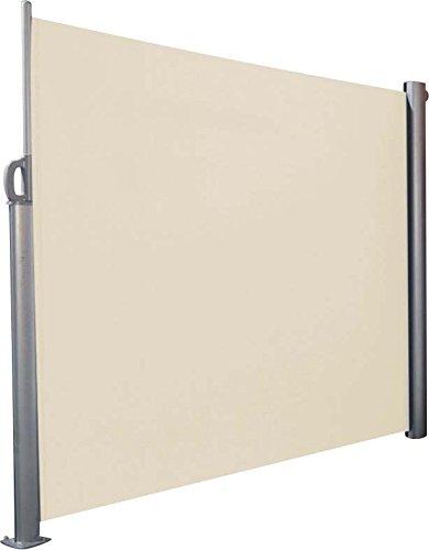 Paravent en polyester beige et alu rétractable 300x170cm