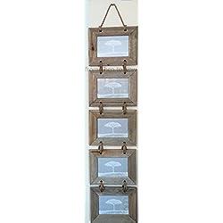 Portarretratos colgante compuesto por 5 marcos de madera para fotos horizontales de 15 x 10 cm