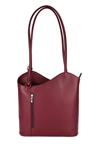 Belli ital. Ledertasche Backpack 2in1 Damen Rucksack Leder Handtasche Schultertasche - Freie Farbwahl - 28x28x8 cm (B x H x T) (Rot (Weinrot))
