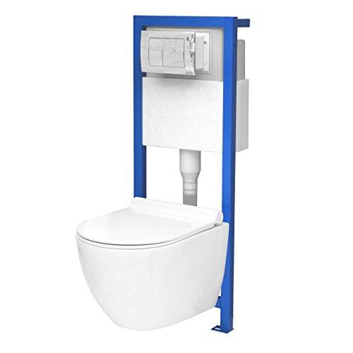 Tout-en-un Kit V1: Lavita prétexte Élément Chromé + Plaque + bord sans réservoir WC mural + abattant de WC avec descente automatique Soft Close