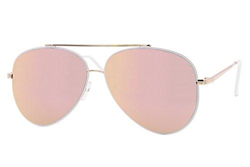 Cheapass Sonnenbrille Gold Rosé Verspiegelt Aviator Pilotenbrille UV-400 Fliegerbrille Metall Damen (Flieger Brille)