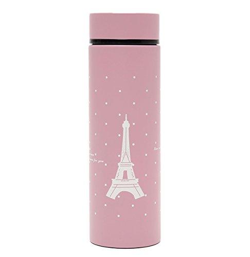 Aliciashouse Viaje de acero inoxidable taza vacío aislado frasco botella termo-rosa
