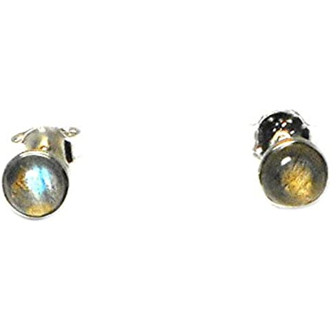 labradorite, forma rotonda, 6mm–orecchini in argento Sterling 925, in confezione regalo (ls0412153)