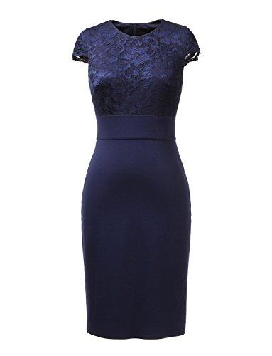 Donna abito formale pizzo manica ad aletta usanza indossare al lavoro attività commerciale ballo casuale cocktail damigella d'onore nozze abito da sera (50, blu scuro)