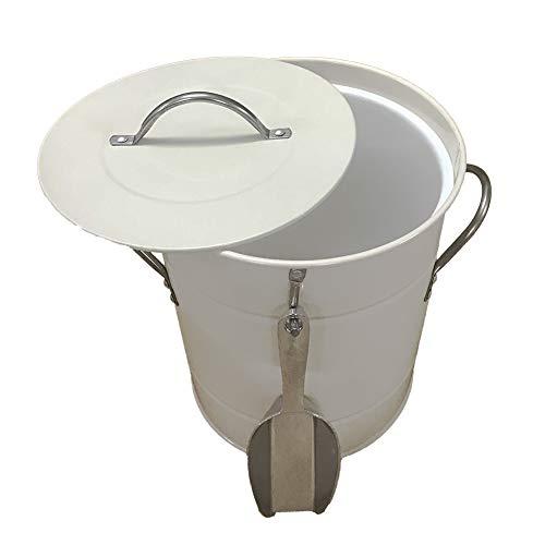 Tragbarer Eiseimer Set, Metall, verzinkt, doppelwandig, Eisbehälter mit Deckel und Schaufel, für Picknick, Grill, Partys, Bar und Outdoor-Aktivitäten, etc, 4 l Free Size weiß