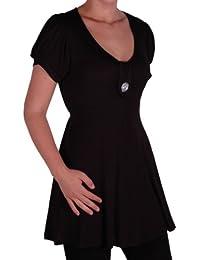 EyeCatch - Sierra Frauen Kurze Sleeve V-Ausschnitt Tunika Damen-Top Plus Größe 42 - 56