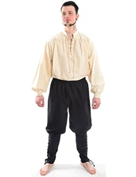 HEMAD Herren Wikinger-Hose Piratenhose Mittelalter Hose S-XXXL Baumwolle rot, schwarz, braun, beige, gruen