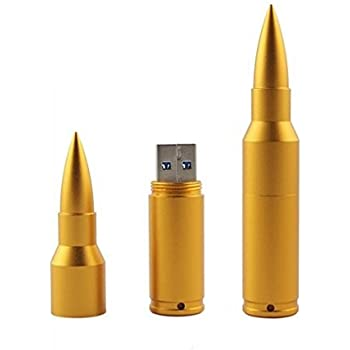 Shooo 8GB Metal Shining 3D Golden Bullet USB Flash Drive Memory Stick with Keychain
