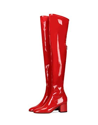 XLH Boot PU mittlere Ferse sexye Schuhe Starke Ferse dünner Für Abend-Partei-Büro-Frauen über Knie-Stiefel, Multi-Color Optional,Rot,46 -