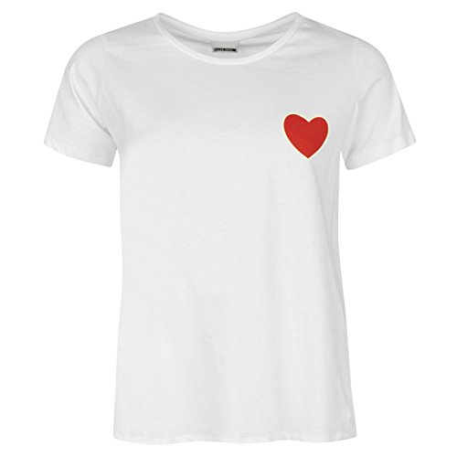 Noisy May Femmes Patty Decontracte Sport Ete Col Rond T Shirt Manches Courtes Blanc Heart