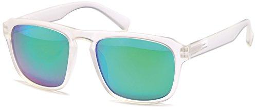 SAMBORA® A80019-2 Unisex Sonnenbrille UV400 Schutz Wayfarer Style - Rahmen: Transparent Glas: Grün/Blau Verspiegelt