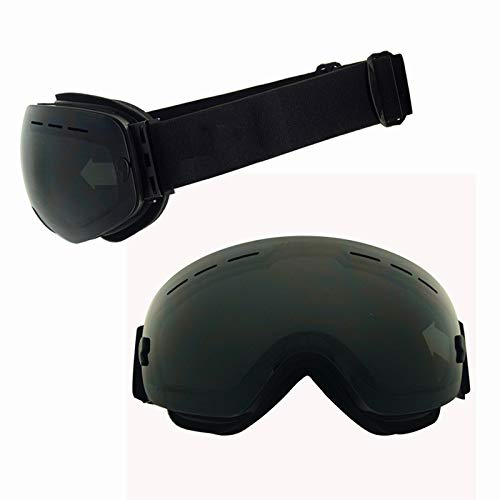 Yiph-Sunglass Sonnenbrillen Mode Schneebrille Ski Anti-Fog und Sand-Proof große sphärische Gläser für Männer, Frauen Jugend - 100% UV-Schutz (Farbe : Black and graym)
