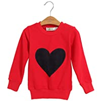 Sanzhileg 2016 Herbst Winter Familie Passenden Outfits Koreanischen Stil Langarm Rundhals Baumwolle Herz Shirts Kleidung - Rot 6