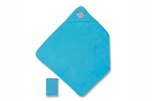 Preisvergleich Produktbild Baby Boum 90 x 90cm Hooded Bath Towel and Wash Mitt with Super Soft 4D Sensory Metallic Stitched Applique Elefun Collection (Deep Turquoise) by Baby Boum