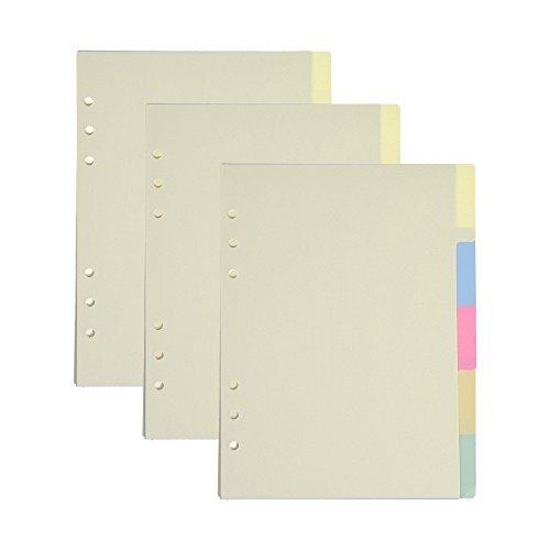 BCP 3Set Papier Trennwand Index Seite Tab Karten für 6-holes Ringbücher Filofax Notebooks Travel Diary Tagebuch Planer A5 Size (Trennwände Für 3-ring Binder)