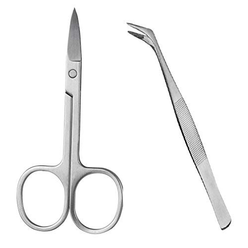 B Baosity Pince Cils Incurvés Sourcils Nez Cheveux Ciseaux Remover False Lash Trimmer Cutter + Pince Incurvé Extension Cils Nail Art Nipper Applicateur Clip