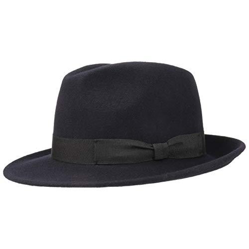 Lipodo Basic Bogart Filzhut | Bogarthut aus 100% Wollfilz | Wollfilzhut Damen/Herren | Fedora Made in Italy | Hut Sommer/Winter | Wollhut dunkelblau L (58-59 cm) (Hut In Den)