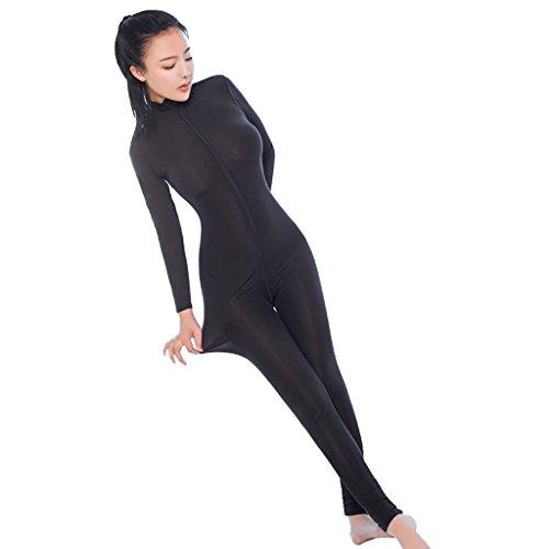 QWE Damen-Jumpsuit mit Reißverschluss vorne, offene Hüfte, sexy Dessous, Spandex, Bodysuit, Clubwear, Bodystocking ohne Schritt, B -