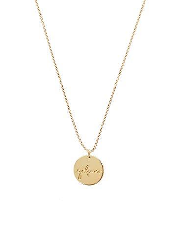 Malaika Raiss Damen Halskette runder Kreis-Anhänger Gravur Girl Power 24 Karat vergoldet - N3133grl