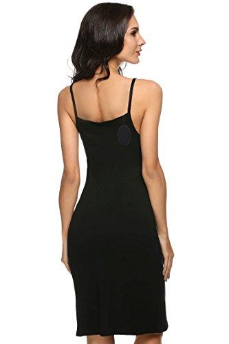 Keland Damen Unterkleid Modal Kleider Soft Baumwolle Nachthemd Unterrock mit Trägern Schwarz