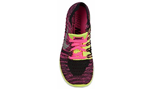 Nike Mädchen Free Rn Flyknit (Gs) Laufschuhe Rosa (Pink Blast / Metallic Silver-Volt-Black)