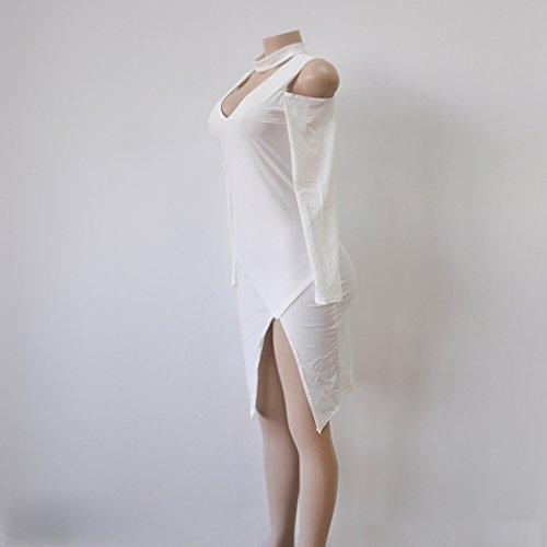 Honghu Damen Slim Fit Langarm V-Ausschnitt Schulterfrei Kleid Weiß