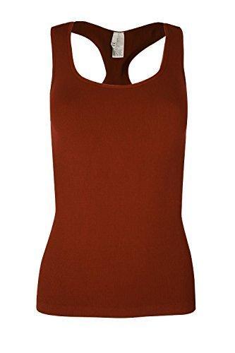 Oops Outlet Damen Geripptes Ärmelloses Top Top Damen Racer Muskelshirt ärmellos Rundhals Jersey Dehnbar T-Shirt UK 8-14 Braun