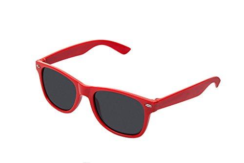 RetroUV® Klassische Brillen 80er Jahre Retro Große Horn Umrandeten Sonnenbrille Stil, Rot Tönung,