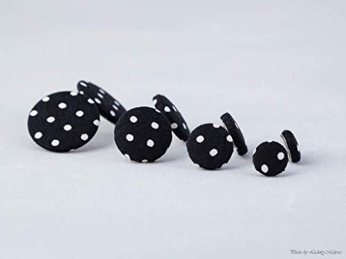 schwarz weiß Punkte gepunktet Ohrstecker - 1 Paar - Ohrringe Stoff Ohrstecker Stoffohrringe Stoffohrstecker MotleyBees Motley Bees (Süße Schwarze Ohrstecker)