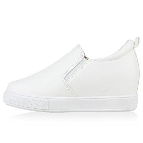 Damen Sneaker-Wedges Keil Absatz Sneakers Freizeit Turnschuhe Weiß