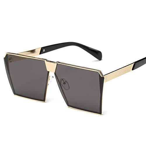Neu mit dem großen Rahmen quadratische weibliche Sonnenbrille Stern Sonnenbrille Han Chao männlich Silberrahmen schwarz grau Stück, Goldrahmen schwarz grau Stück