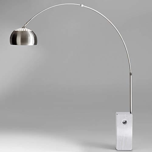 Moebella Bogenleuchte Stehleuchte Bogenlampe Marmorfuß weiß Viviana Edelstahl Silber Stehlampe -