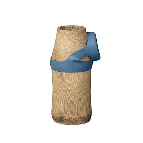 IPPINKA Wasserflasche, umweltfreundlich, wiederverwendbar, Bambus, Blau, 250 ml (klein) (Kleine Wasserflaschen Wiederverwendbare)