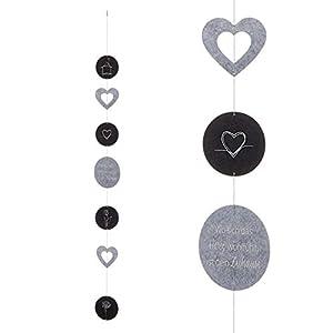 Hängedeko Girlande aus Filz grau / Herzen / Fensterdeko Windspiel (Wo sich das Herz wohlfühlt ist dein Zuhause)